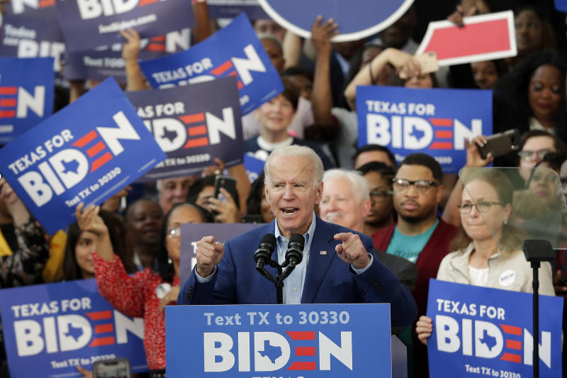 Democratic presidential candidate former Vice President Joe Biden speaks during a campaign rally Thursday, March 2, 2020, at Texas Southern University in Houston. (Michael Wyke/AP)