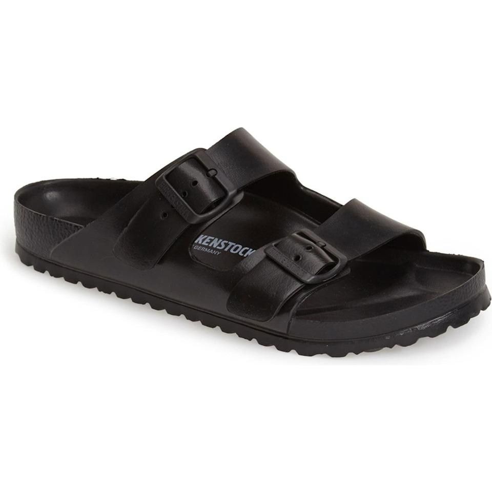 """<p><strong>Birkenstock</strong></p><p>nordstrom.com</p><p><strong>$44.95</strong></p><p><a href=""""https://go.redirectingat.com?id=74968X1596630&url=https%3A%2F%2Fwww.nordstrom.com%2Fs%2Fbirkenstock-essentials-arizona-waterproof-slide-sandal-men%2F3849422&sref=https%3A%2F%2Fwww.esquire.com%2Fstyle%2Fmens-fashion%2Fg36755392%2Fdad-style-dadcore-shopping-guide%2F"""" rel=""""nofollow noopener"""" target=""""_blank"""" data-ylk=""""slk:Shop Now"""" class=""""link rapid-noclick-resp"""">Shop Now</a></p><p>Comfortable, practical, and affordable—aka, the Dad Trifecta.</p>"""