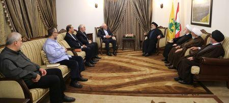Lebanon's Hezbollah leader Sayyed Hassan Nasrallah meets with Iran's Foreign Minister Mohammad Javad Zarif