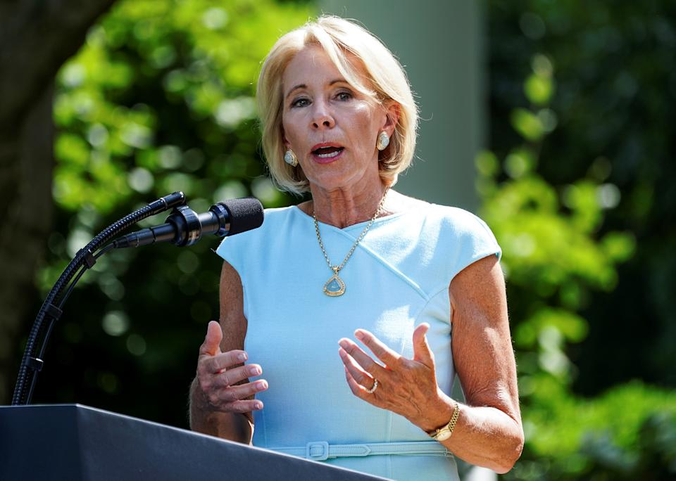 U.S. Education Secretary Betsy Devos speaks  during a signing ceremony  for the White House Hispanic Prosperity Initiative in the Rose Garden at the White House in Washington, U.S., July 9, 2020. REUTERS/Kevin Lamarque