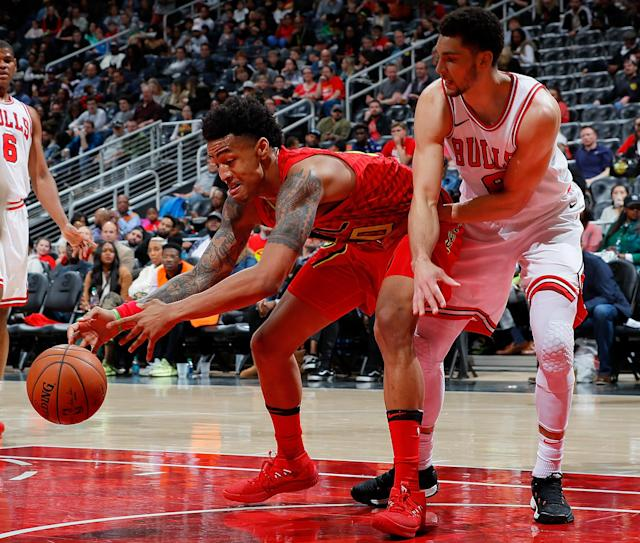 The hype on the Atlanta Hawks' John Collins might be a little too high this Fantasy Basketball season. (Photo by Kevin C. Cox/Getty Images)
