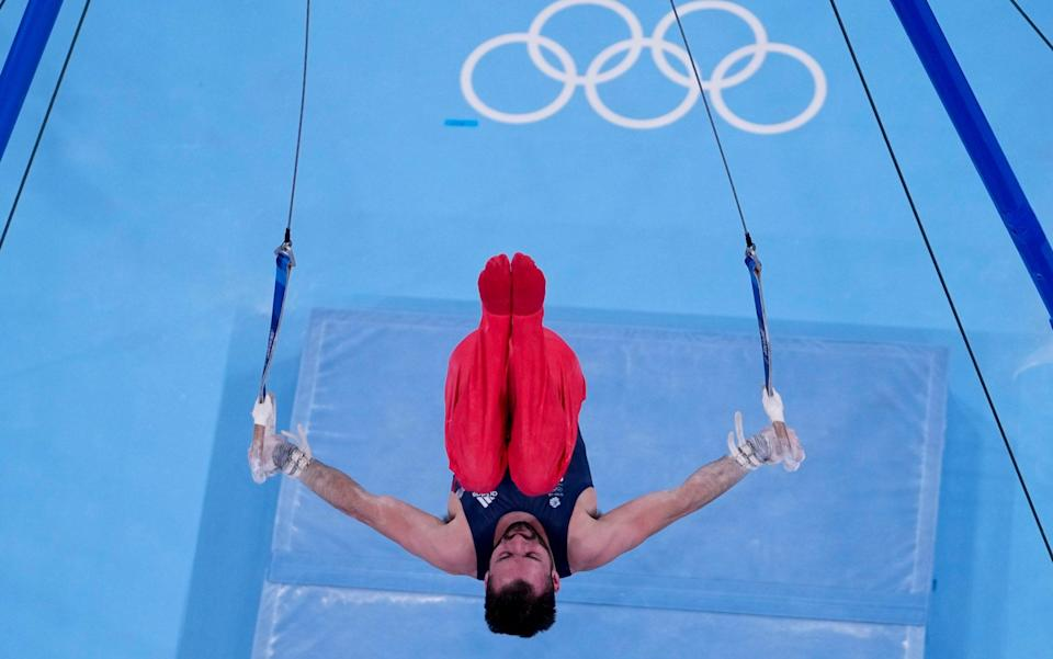 James Hall on the rings