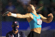 Valarie Allman competes during the finals of women's discus throw at the U.S. Olympic Track and Field Trials Saturday, June 19, 2021, in Eugene, Ore. (AP Photo/Charlie Riedel)