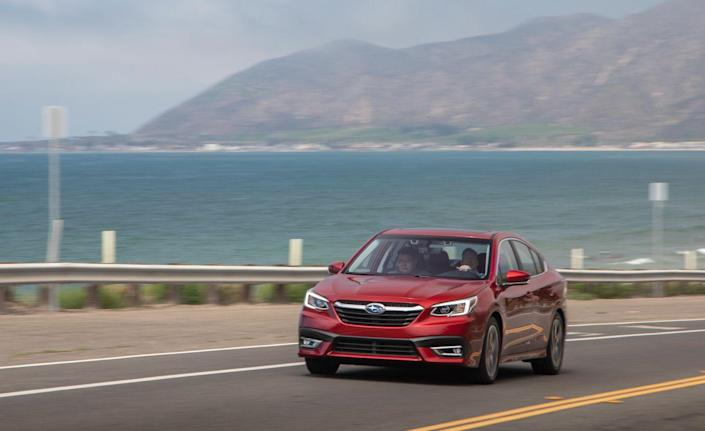 <p>Two flat-four engines are offered—a 182-hp 2.5-liter and a 260-hp turbocharged 2.4-liter. Every Legacy has all-wheel drive and a continuously variable automatic transmission.</p>
