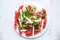 """This colorful watermelon and jicama salad packs a bit of heat by adding the jalapeño; it balances out the cooler flavors, but feel free to omit it. <a href=""""https://www.bonappetit.com/recipe/watermelon-and-jicama-salad-with-jalapeno-and-lime?mbid=synd_yahoo_rss"""" rel=""""nofollow noopener"""" target=""""_blank"""" data-ylk=""""slk:See recipe."""" class=""""link rapid-noclick-resp"""">See recipe.</a>"""