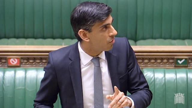 Chancellor Rishi Sunak makes a statement in the House of Commons on the government's economic package in response to the coronavirus outbreak. (PA)