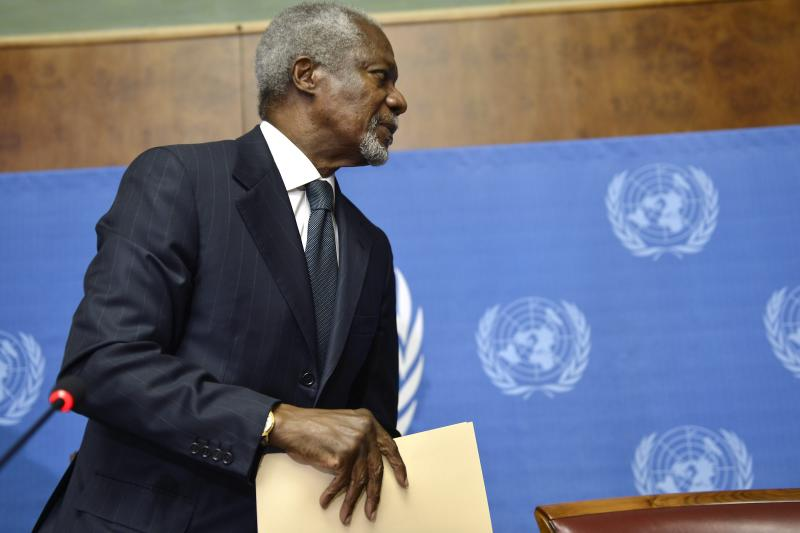 Kofi Annan, Joint Special Envoy of the United Nations and the Arab League for Syria, leaves after a press briefing, at the European headquarters of the United Nations, UN, in Geneva, Switzerland, Thursday Aug. 2, 2012. Annan is stepping down as UN Arab League mediator in the 17-month-old Syria conflict at the end of the month, U.N. chief Ban Ki-moon said in a statement on Thursday. (AP Photo/Keystone, Martial Trezzini)
