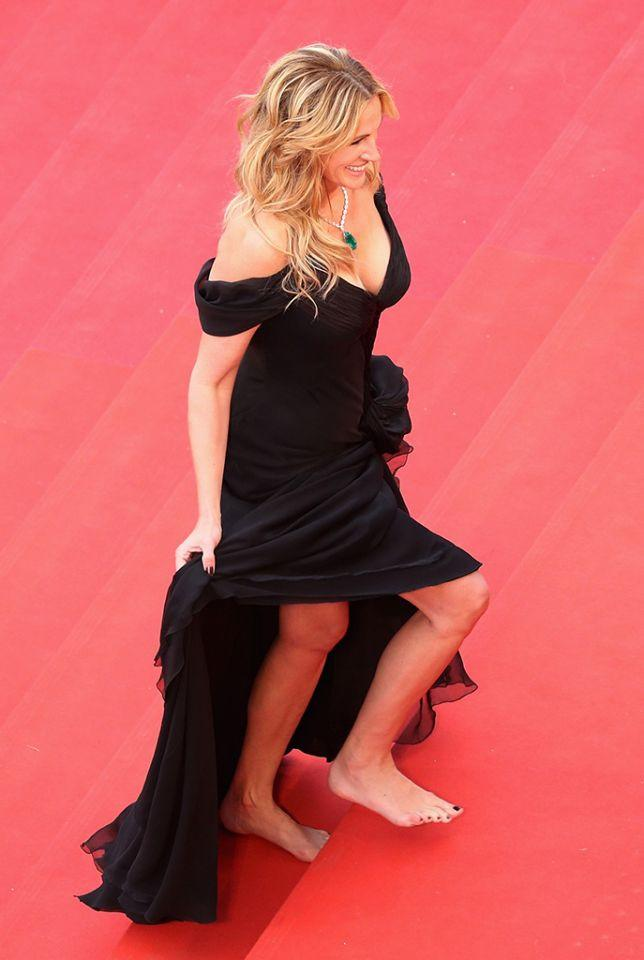 Though there were others to walk the Cannes carpet sans shoes before Stewart.While promoting her film <em>Money Monster</em> at the French film festival in 2016, the actress decided that heels were overrated, especially when ascending a famously tricky staircase. (Photo: Getty Images)