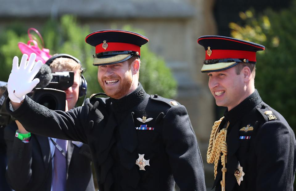 Prince Harry and Prince William arriving at the church for Prince Harry's wedding to Meghan Markle