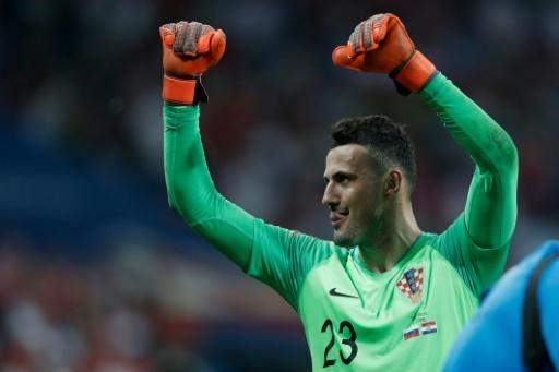 Croatia goalkeeper Danijel Subasic celebrates his side's victory against Russia in the World Cup quarter-finals