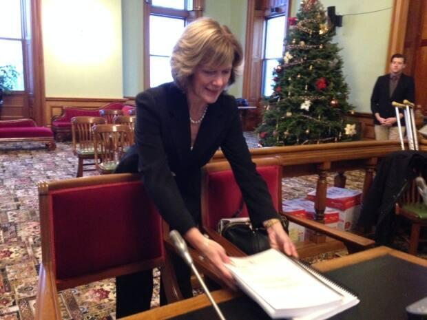 Auditor General Kim MacPherson in 2015, preparing to brief a legislature committee on her annual report.