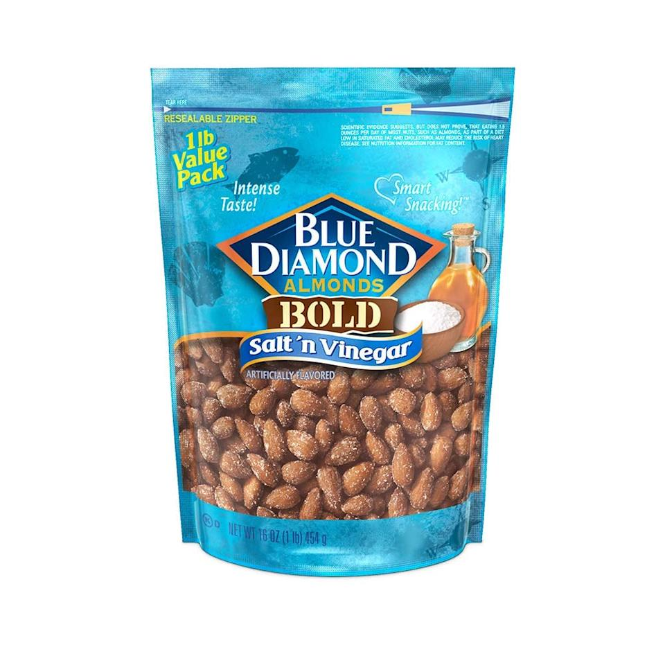"""<p>For us, almonds are a go-to snack. These <a href=""""https://www.popsugar.com/buy/Blue-Diamond-Almonds-Bold-Salt-n-Vinegar-410103?p_name=Blue%20Diamond%20Almonds%2C%20Bold%20Salt%20%27n%27%20Vinegar&retailer=amazon.com&pid=410103&price=8&evar1=fit%3Aus&evar9=46489729&evar98=https%3A%2F%2Fwww.popsugar.com%2Fphoto-gallery%2F46489729%2Fimage%2F46489740%2FBlue-Diamond-Almonds-Bold-Salt-n-Vinegar&list1=shopping%2Camazon%2Chealthy%20snacks%2Csnacks%2Ccollege&prop13=api&pdata=1"""" rel=""""nofollow"""" data-shoppable-link=""""1"""" target=""""_blank"""" class=""""ga-track"""" data-ga-category=""""Related"""" data-ga-label=""""https://www.amazon.com/Blue-Diamond-Almonds-Vinegar-Ounce/dp/B01GOTHTQS/ref=sr_1_12_s_it?s=grocery&amp;ie=UTF8&amp;qid=1549054830&amp;sr=1-12&amp;keywords=almonds&amp;th=1"""" data-ga-action=""""In-Line Links"""">Blue Diamond Almonds, Bold Salt 'n' Vinegar</a> ($8) taste like potato chips and give us that intense flavor blast we crave. We could eat the whole bag. They're a great option when you've got a long night ahead of you, and need the protein boost.</p>"""