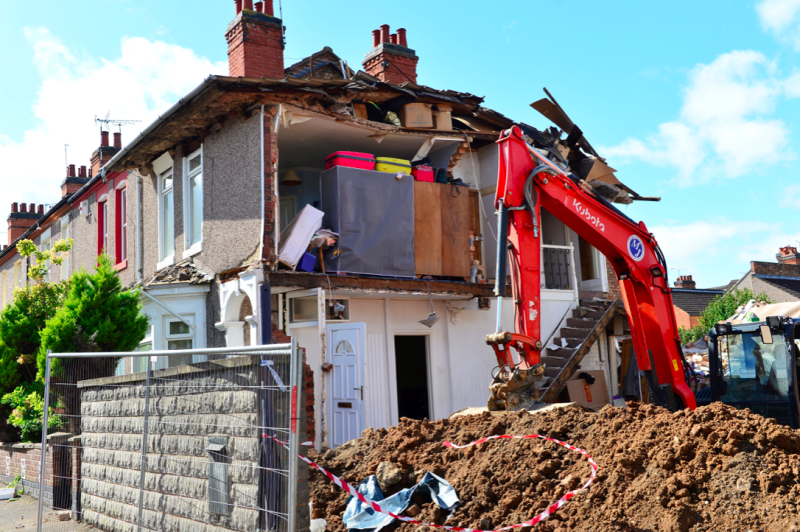 The family saw part of their property collapse because of the building work next door (SWNS)