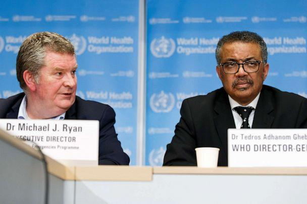 PHOTO: Tedros Adhanom Ghebreyesus, right, and Michael Ryan, left, address the media during a press conference at the World Health Organization headquarters in Geneva, Switzerland, Feb. 10, 2020 on the situation regarding to the new coronavirus. (Salvatore Di Nolfi/Keystone via AP, FILE)