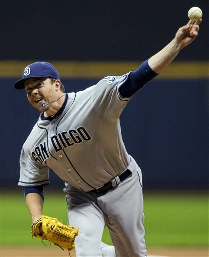 San Diego Padres' Andrew Werner pitches to the Milwaukee Brewers during the first inning of a baseball game, Wednesday, Oct. 3, 2012, in Milwaukee. (AP Photo/Tom Lynn)