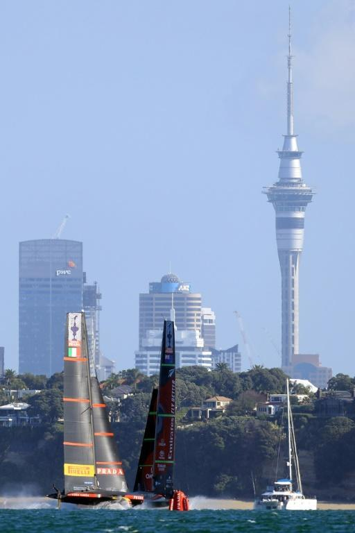 Luna Rossa (right) and Team New Zealand joust for position during the decisive race 10 of the 36th America's Cup in Auckland on Wednesday
