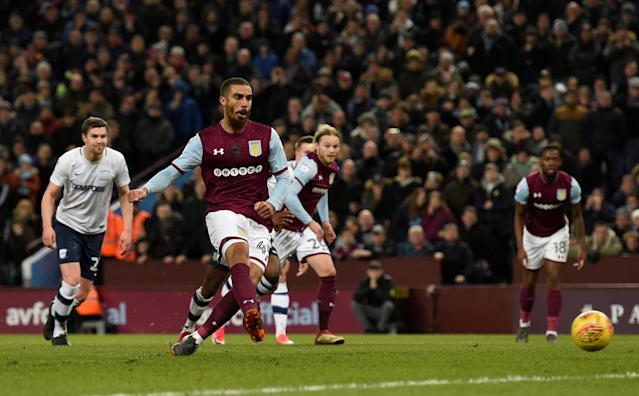 "Soccer Football - Championship - Aston Villa vs Preston North End - Villa Park, Birmingham, Britain - February 20, 2018 Aston Villa's Lewis Grabban scores their first goal from the penalty spot Action Images/Adam Holt EDITORIAL USE ONLY. No use with unauthorized audio, video, data, fixture lists, club/league logos or ""live"" services. Online in-match use limited to 75 images, no video emulation. No use in betting, games or single club/league/player publications. Please contact your account representative for further details."