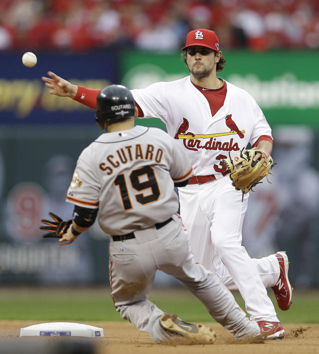 CORRECTS INNING TO FIFTH, NOT FOURTH - St. Louis Cardinals shortstop Pete Kozma (38) throws to first for a double play, taking San Francisco Giants' Marco Scutaro (19) out at second and Pablo Sandoval (48) out at first, during the fifth inning of Game 3 of baseball's National League championship series Wednesday, Oct. 17, 2012, in St. Louis. (AP Photo/David J. Phillip)