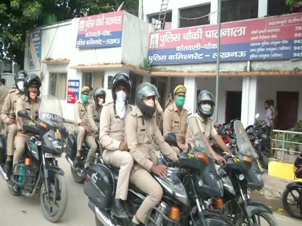 Police personnel out a police station in Lucknow [Photo/ANI]