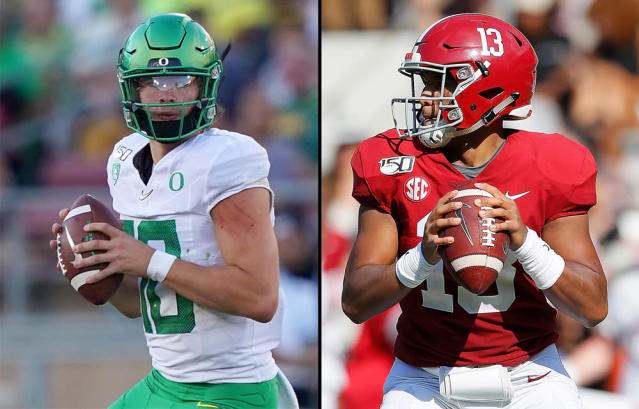 Oregon's Justin Herbert (L) and Alabama's Tua Tagovailoa appear to be the top two NFL quarterback prospects. (Getty)