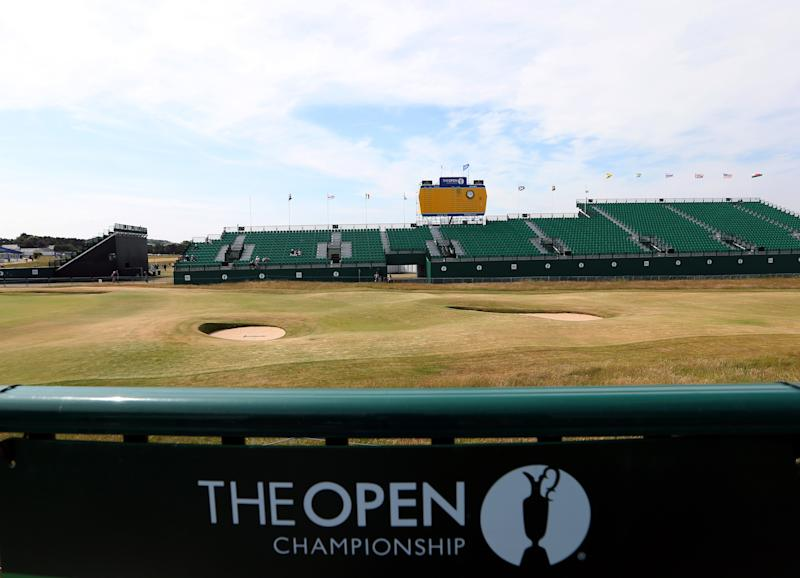 A general view of the green and bunkers at the 18th ahead of the British Open Golf Championship, Muirfield, Scotland, Sunday, July 14, 2013. The British Open begins on Thursday July 18. (AP Photo/Scott Heppell)