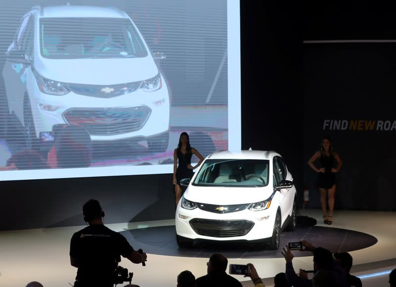 FILE PHOTO: Chevrolet Bolt EV is pictured during the media day of the Salao do Automovel International Auto Show in Sao Paulo