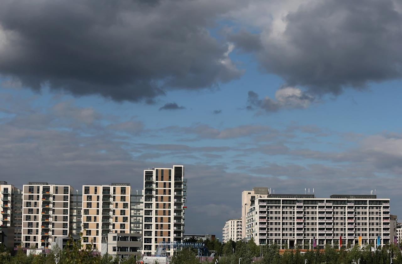 LONDON, ENGLAND - JULY 19:  The general view of the athletes village during previews ahead of the London 2012 Olympic Games at the Olympic Park on July 19, 2012 in London, England.  (Photo by Julian Finney/Getty Images)