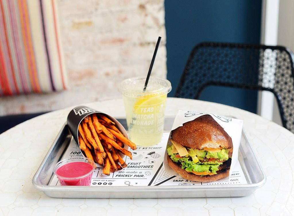 """We picked the healthiest dishes on the menu at the charming vegan restaurant. With menu items like pesto meatball hero, mac n' cheese, and quinoa taco salad, you don't have to be vegan to love the food at<a rel=""""nofollow"""" href=""""https://eatbychloe.com/"""">by CHLOE</a>. Asone of the fastest growing vegan fast-casual restaurants in the country and abroad, by Chloe's has 10 locations with seven in New York City alone.Their famous Guac Burger and Matcha Kelp Noodles have their most loyal fans and new customers keep coming back for more. Not convinced that a <a rel=""""nofollow"""" href=""""https://www.eatthis.com/veganism-found-to-be-the-best-diet-for-weight-loss?utm_source=yahoo-news&utm_medium=feed&utm_campaign=yahoo-feed"""">vegan diet</a>is best for you? That's OK! by Chloe's menu takes the same flavors and foods you love in fast foods and transforms them into tasty, plant-based fare. <h3>by Chloe: The Best Vegan Fast Food in Town</h3> What's even better is by Chloe makes all of its menu items—including the sauces—from scratch in-house, and the ingredients are organic and locally sourced whenever possible. The entire menu is not only 100 percent plant-based, but certified kosher, too. And you can enjoy your meal knowing that all of the food is free of saturated animal fat, cholesterol, artificial flavors, and preservatives.  While by Chloe chooses not to disclose their nutritional information for their menu in stores or online, we talked to<a rel=""""nofollow"""" href=""""http://www.tracylockwoodnutrition.com"""">Tracy Lockwood Beckerman</a><em>, </em>RD and resident nutrition expert at<a rel=""""nofollow"""" href=""""http://www.betches.com""""><em>Betches Media </em></a>, to find out the best choices to order. After all, a burger is a burger, and cookies still have sugar at the end of the day, even vegan ones.  """"by Chloe is a place I would send my clients to eat a balanced, wholesome meal while providing their body with adequate nutrition,"""" Beckerman says. Even though Beckerman recommends by Chloe to ma"""