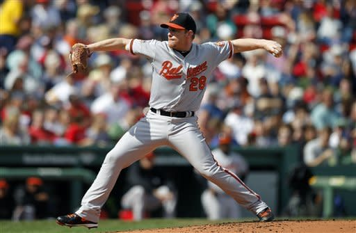 Baltimore Orioles' Randy Wolf pitches in the first inning of a baseball game against the Boston Red Sox in Boston, Saturday, Sept. 22, 2012. (AP Photo/Michael Dwyer)