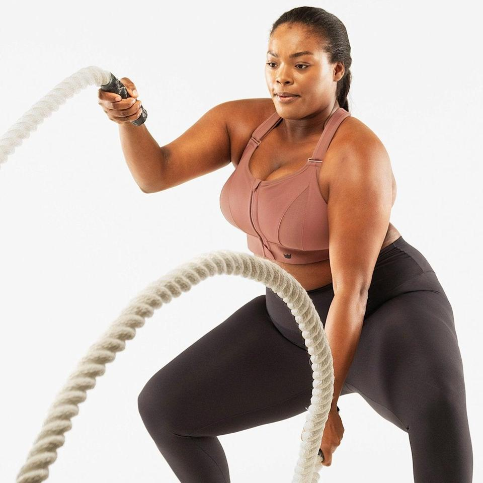 """<h2>SheFit Ultimate Sports Bra</h2><br>We combed through a deep sea of reviews and recommendations to find <a href=""""https://refinery29.com/en-us/best-plus-size-sports-bra"""" rel=""""nofollow noopener"""" target=""""_blank"""" data-ylk=""""slk:the best plus-sized sports bras"""" class=""""link rapid-noclick-resp"""">the best plus-sized sports bras</a> in the game that will actually support bigger busts — and this bestselling style from SheFit came out on top as the ultimate fully-adjustable option. Reviewers attest that its range of 29-inch to 55-inch busts runs true to size. <br><br><em>Shop <strong><a href=""""https://shefit.com/products/ultimate-sports-bra-rose-taupe"""" rel=""""nofollow noopener"""" target=""""_blank"""" data-ylk=""""slk:SheFit"""" class=""""link rapid-noclick-resp"""">SheFit</a></strong></em><br><br><strong>SheFit</strong> Ultimate Sports Bra, $, available at <a href=""""https://go.skimresources.com/?id=30283X879131&url=https%3A%2F%2Fshefit.com%2Fproducts%2Fultimate-sports-bra-rose-taupe"""" rel=""""nofollow noopener"""" target=""""_blank"""" data-ylk=""""slk:SheFit"""" class=""""link rapid-noclick-resp"""">SheFit</a>"""
