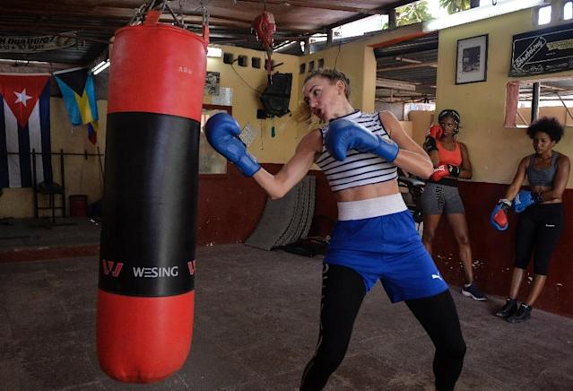 French boxer Ana Gasquez says she was drawn to Cuba by the mystique of its boxing tradition. (AFP Photo/YAMIL LAGE)
