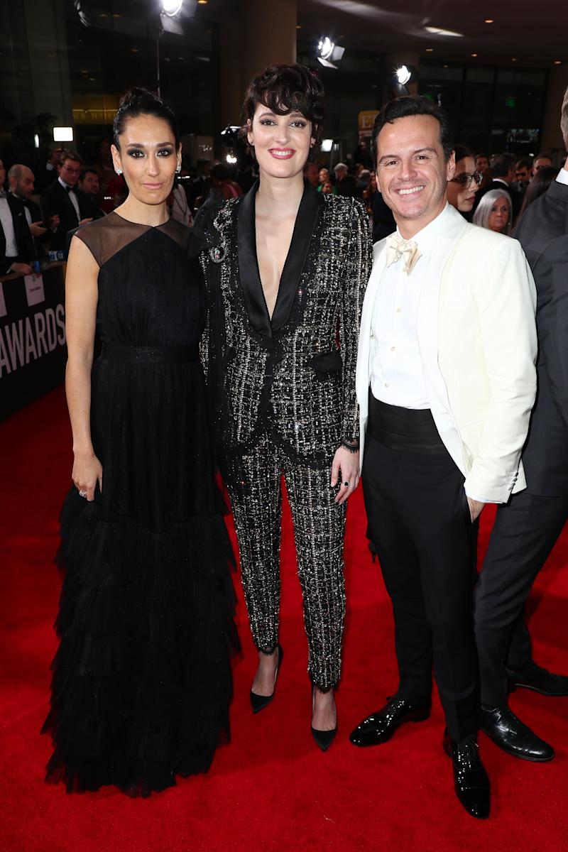 BEVERLY HILLS, CALIFORNIA - JANUARY 05: (L-R) Sian Clifford, Phoebe Waller-Bridge, and Andrew Scott attend the 77th Annual Golden Globe Awards at The Beverly Hilton Hotel on January 05, 2020 in Beverly Hills, California. (Photo by Joe Scarnici/Getty Images for Moët and Chandon )