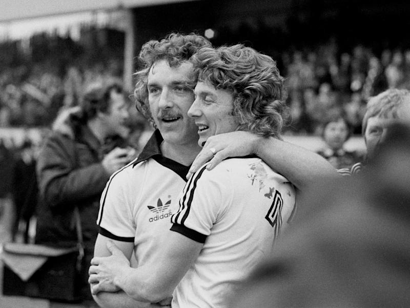 Beattie (left) and Clive Woods during Ispwich Town's ultimately successful FA Cup campaign of 1978: PA