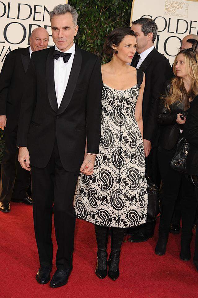 Daniel Day-Lewis and Rebecca Miller arrive at the 70th Annual Golden Globe Awards at the Beverly Hilton in Beverly Hills, CA on January 13, 2013.
