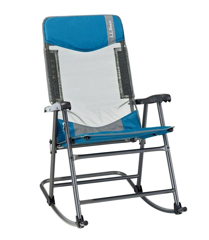 """<h2>L.L.Bean Camp Comfort II Rocker</h2><br>Yes, there is a way to make your home under the trees even more soothing. Consider this portable rocking chair. The truly innovative camping chair lies completely flat when folded up, while permitting you to move to and fro, perhaps with a drink in hand, when open. <br><br><em>Shop<strong> <a href=""""https://www.llbean.com"""" rel=""""nofollow noopener"""" target=""""_blank"""" data-ylk=""""slk:L.L.Bean"""" class=""""link rapid-noclick-resp"""">L.L.Bean</a></strong></em><br><br><strong>L.L. Bean</strong> Camp Comfort II Rocker, $, available at <a href=""""https://go.skimresources.com/?id=30283X879131&url=https%3A%2F%2Fwww.llbean.com%2Fllb%2Fshop%2F125141%3Fpage%3Dllbean-camp-comfort-ii-rocker%26bc%3D29-915-9925%26feat%3D9925-GN1%26csp%3Da%26pos%3D3"""" rel=""""nofollow noopener"""" target=""""_blank"""" data-ylk=""""slk:L.L. Bean"""" class=""""link rapid-noclick-resp"""">L.L. Bean</a>"""