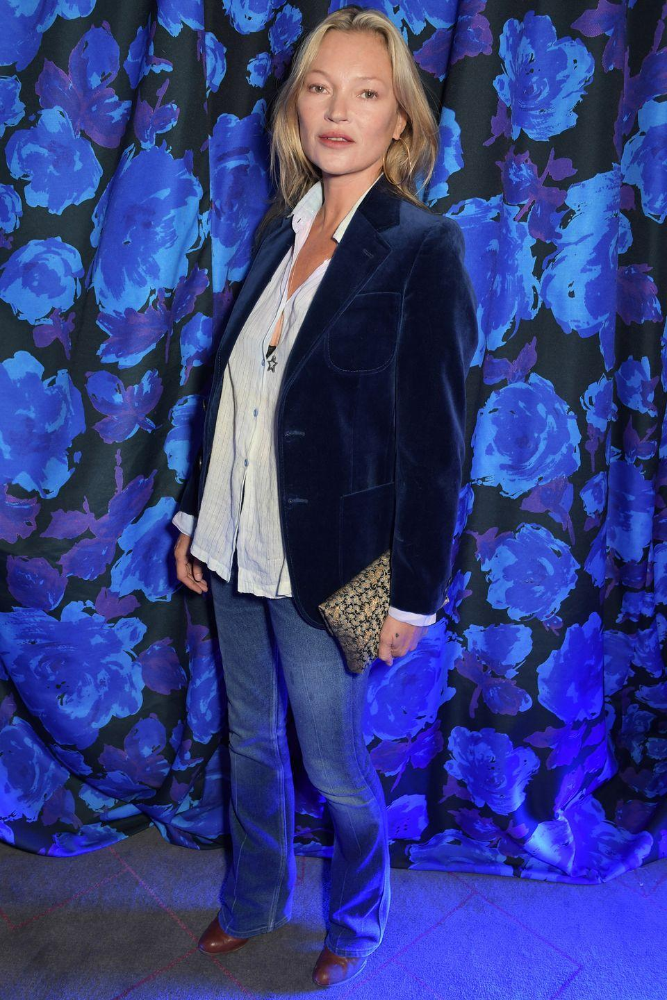"""<p><strong>21 September </strong></p><p>Kate Moss attended the show in a sleek velvet blazer and <a href=""""https://www.harpersbazaar.com/uk/fashion/fashion-news/a37686524/kate-moss-lila-richard-quinn/"""" rel=""""nofollow noopener"""" target=""""_blank"""" data-ylk=""""slk:watched her daughter Lila take to the catwalk"""" class=""""link rapid-noclick-resp"""">watched her daughter Lila take to the catwalk</a>. </p>"""