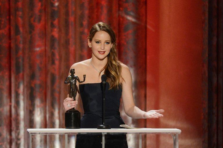 Jennifer Lawrence accepts the best actress Screen Actors Guild award for her role in Silver Linings Playbook on January 27, 2013. Lawrence's success adds a dimension to her star status from blockbuster Hunger Games