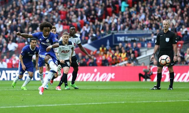 """<span class=""""element-image__caption"""">Willian completes his double from the penalty spot on a day when the Brazilian was hugely impressive for Chelsea at Wembley.</span> <span class=""""element-image__credit"""">Photograph: John Patrick Fletcher/Action Plus via Getty Images</span>"""