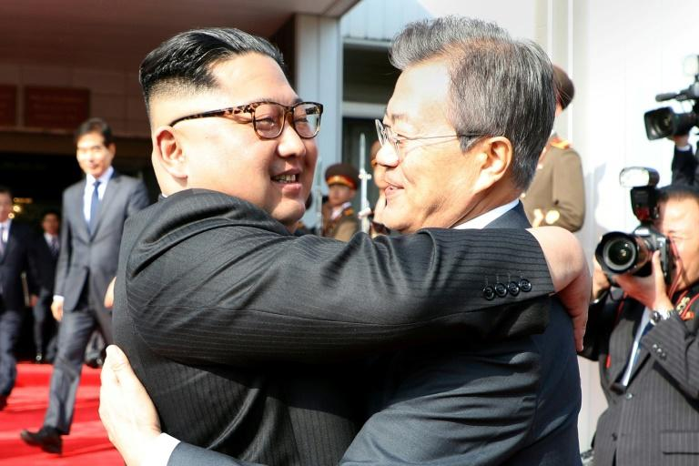 Kim (L) and South Korean president Moon held their first two summits last year at Panmunjom, a 'truce village' on the border