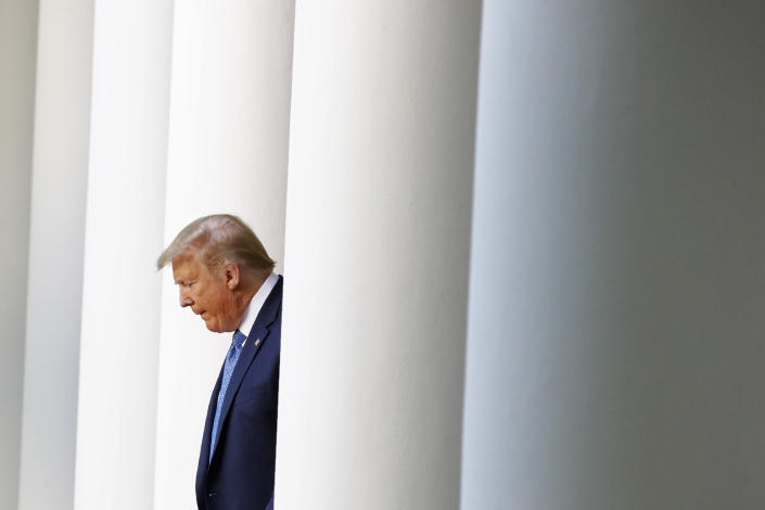 FILE - In this June 1, 2020, file photo President Donald Trump arrives to speak in the Rose Garden of the White House in Washington. (AP Photo/Patrick Semansky, File)
