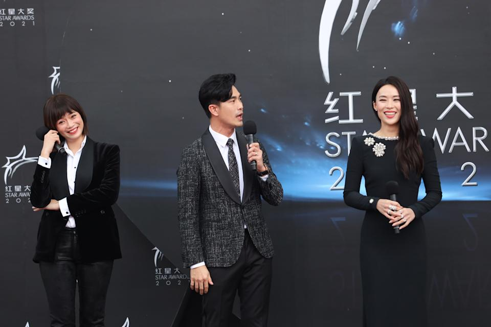 Felicia Chin, Pierre Png and Rebecca Lim at Star Awards held at Changi Airport on 18 April 2021. (Photo: Mediacorp)