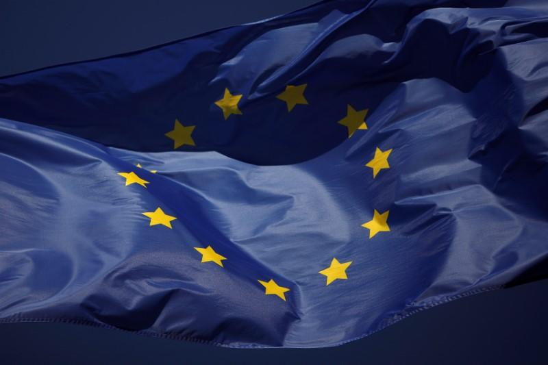 FILE PHOTO: The European flag flies outside of the La Canada shopping centre in Marbella
