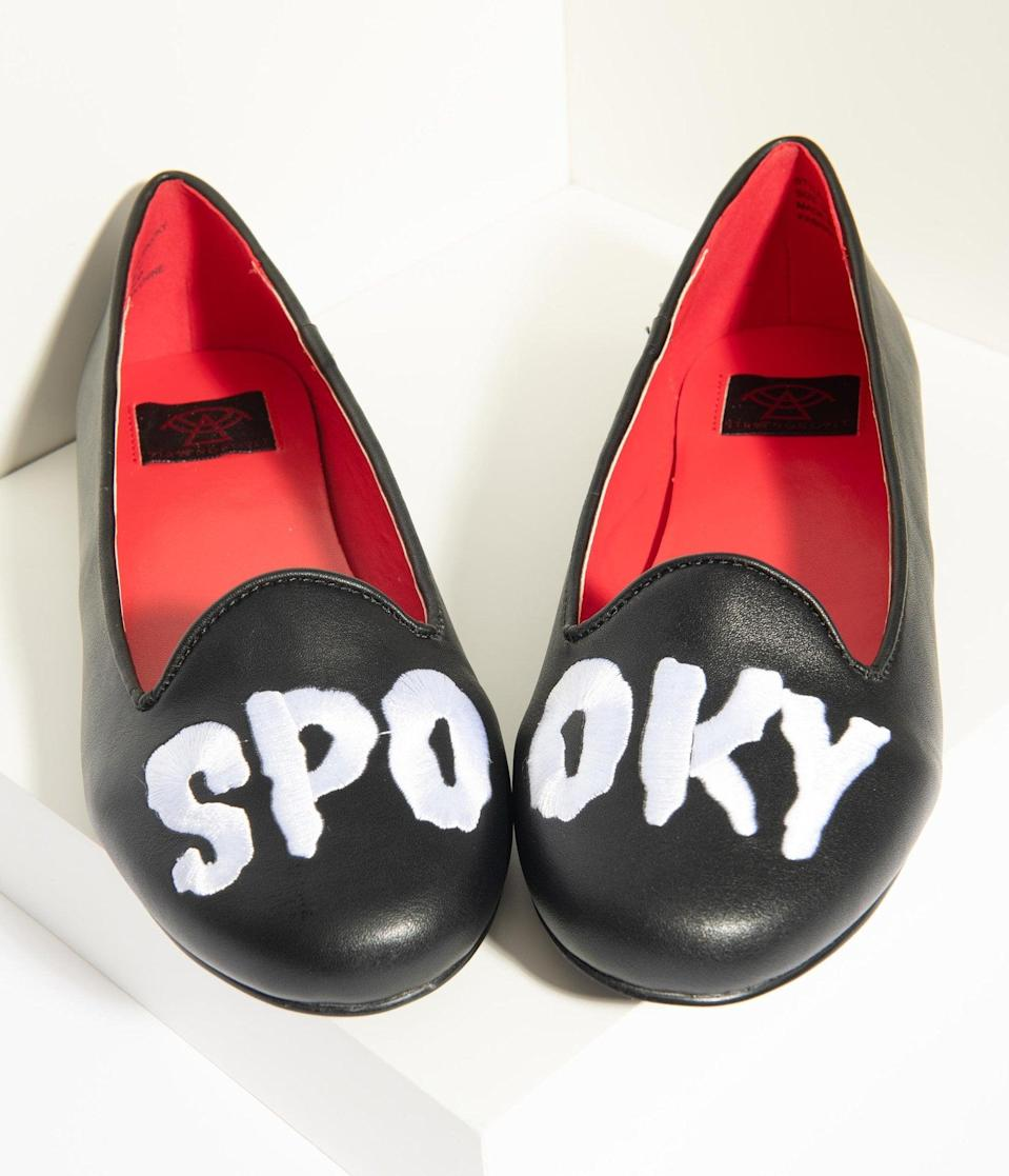 <p>The <span>Black Leatherette Spooky Flats</span> ($70) are bad to the bone.</p>