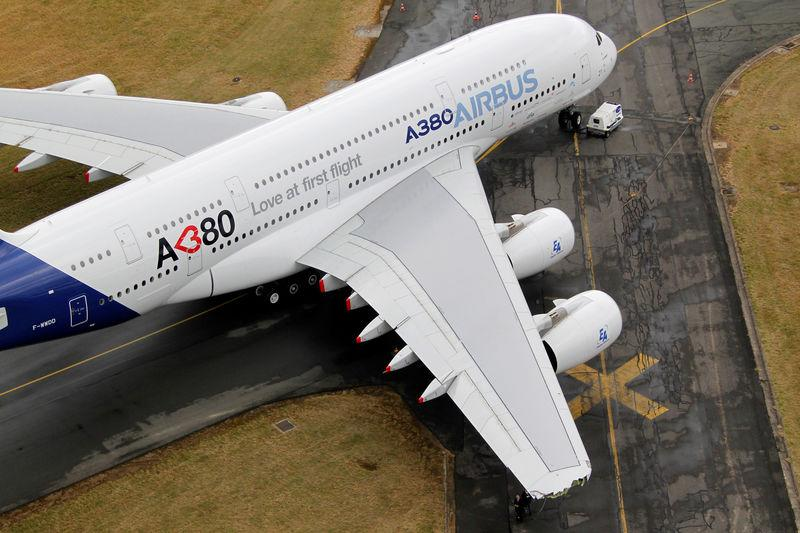 FILE PHOTO: The damaged right-hand wing-tip of the Airbus A380 is seen on the tarmac during the Paris Air Show in Le Bourget airport