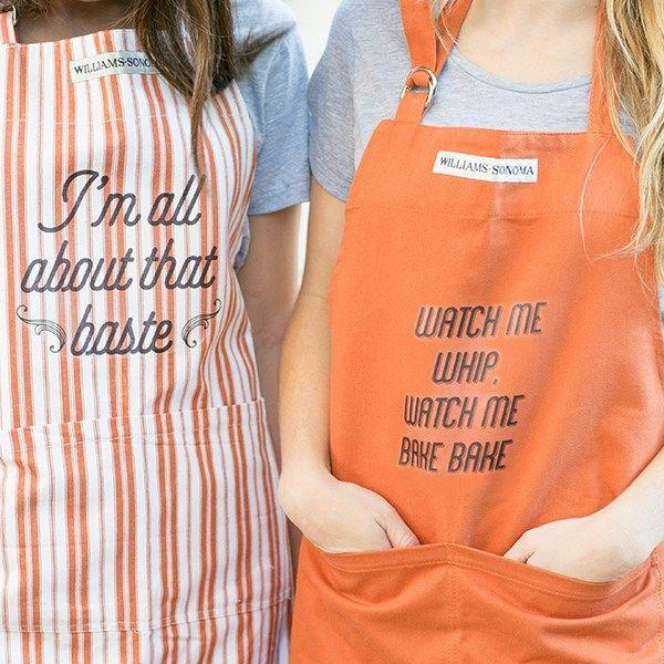 "<p>These punny aprons are the perfect DIY for anyone who's planning to spend days in the kitchen prepping for Turkey Day. It's a quick, easy craft requiring only a few materials—printable transfer paper, an iron, and an apron or two. ""Watch Me Whip, Watch Me Bake Bake,"" ""Bakers Gonna Bake,"" ""I'm All About That Baste, and ""Chop It Like It's Hot"" are a few of the printable designs offered by blogger Eden Passante.</p><p><strong>Get the tutorial at <a href=""https://sugarandcharm.com/printable-t-shirt-designs-for-thanksgiving"" rel=""nofollow noopener"" target=""_blank"" data-ylk=""slk:Sugar and Charm"" class=""link rapid-noclick-resp"">Sugar and Charm</a>.</strong></p><p> <a class=""link rapid-noclick-resp"" href=""https://www.amazon.com/Waterproof-Orange-Chef-Aprons-Pockets/dp/B012FMT902?tag=syn-yahoo-20&ascsubtag=%5Bartid%7C10050.g.2063%5Bsrc%7Cyahoo-us"" rel=""nofollow noopener"" target=""_blank"" data-ylk=""slk:SHOP APRONS"">SHOP APRONS </a></p>"