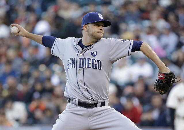 San Diego Padres starting pitcher Jesse Hahn throws against the San Francisco Giants in the first inning of their baseball game Tuesday, June 24, 2014, in San Francisco. (AP Photo/Eric Risberg)