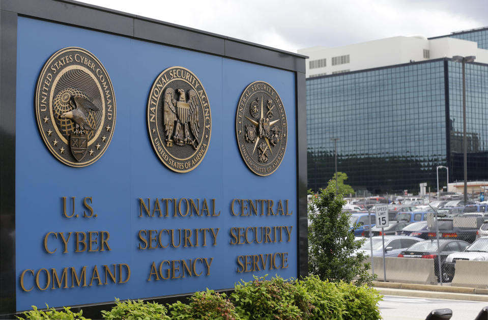FILE - This June 6, 2013 file photo, shows the sign outside the National Security Agency (NSA) campus in Fort Meade, Md.All fingers are pointing to Russia as author of the worst-ever hack of U.S. government agencies. But President Donald Trump, long wary of blaming Moscow for cyberattacks has so far been silent. (AP Photo/Patrick Semansky, File)