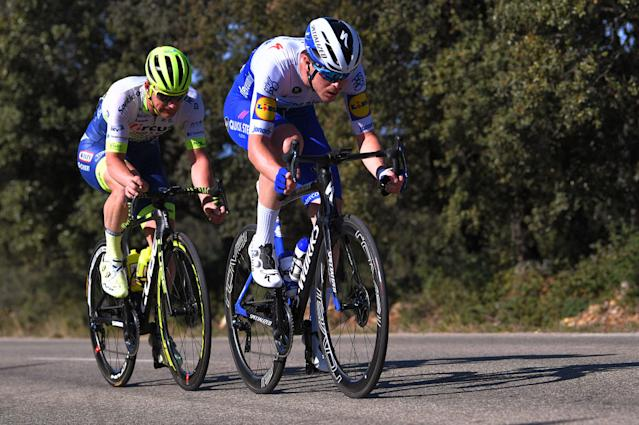 CHALET REYNARD MONT VENTOUX FRANCE FEBRUARY 15 Remi Cavagna of France and Team Deceuninck Quick Step Timothy Dupont of Belgium and Team Circus Wanty Gobert Breakaway during the 5th Tour de La Provence 2020 Stage 3 a 1435km stage from Istres to Chalet Reynard Mont Ventoux 1429m TDLP letourdelaprovence TDLP2020 on February 15 2020 in Chalet Reynard Mont Ventoux France Photo by Luc ClaessenGetty Images