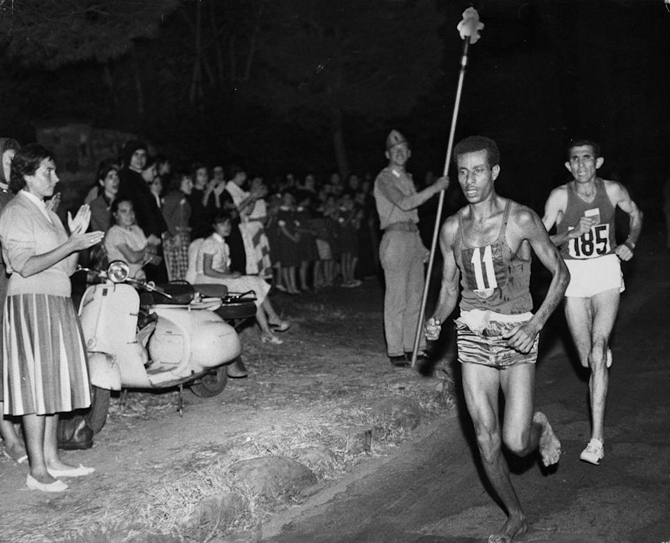 <p>Abebe Bikila set an Olympic marathon record with a time of 2:15:16, becoming the first African athlete to win a gold medal. And he did it barefoot—just like he trained in his home country of Ethiopia. </p>