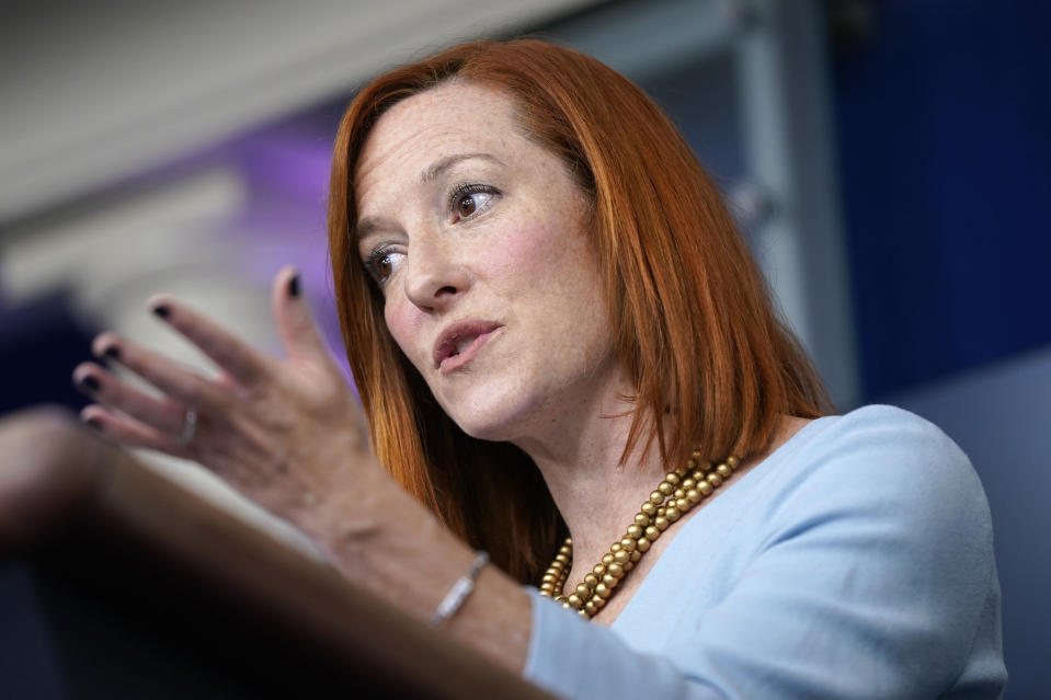 White House press secretary Jen Psaki speaks during a press briefing at the White House, Wednesday, Feb. 10, 2021, in Washington. (AP Photo/Patrick Semansky)